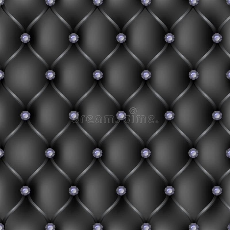 Svart läderupholstery mönstrar bakgrund stock illustrationer