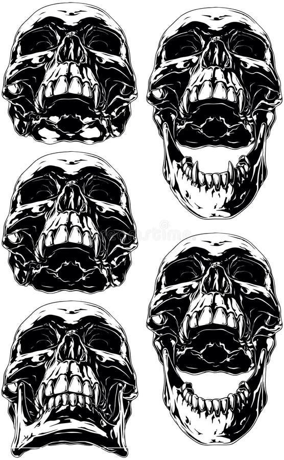 Svart läskig mänsklig skalle med den hund- tatueringuppsättningen stock illustrationer