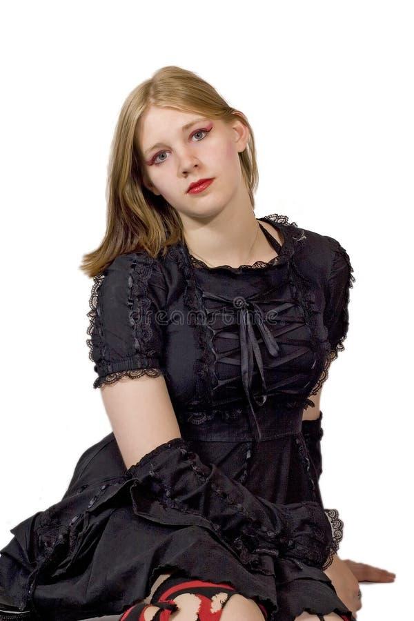 svart lacy klänningflicka royaltyfri foto