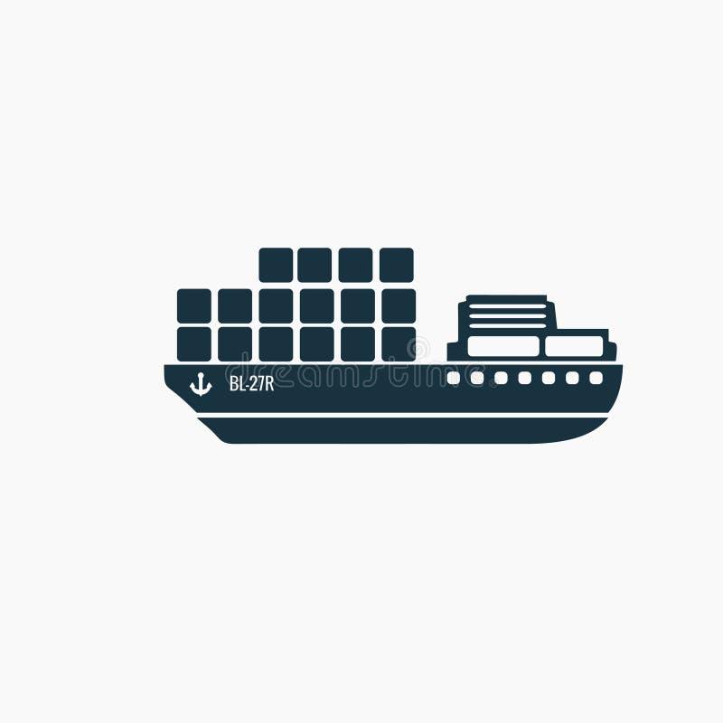 Svart lastfartyg, freigthersymbol vektor illustrationer