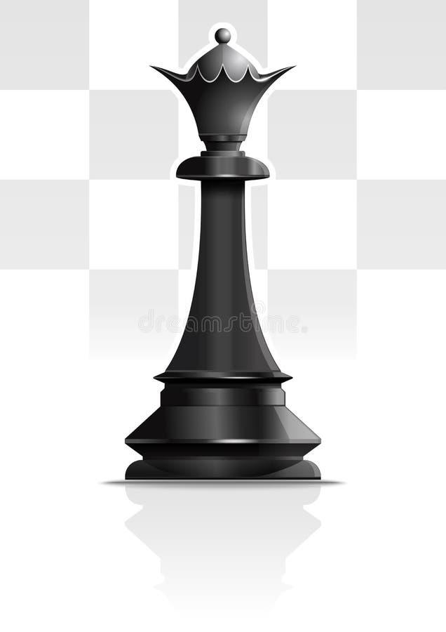 svart lekdrottning f?r schack 3d Schackbegreppsdesign gears symbolen stock illustrationer