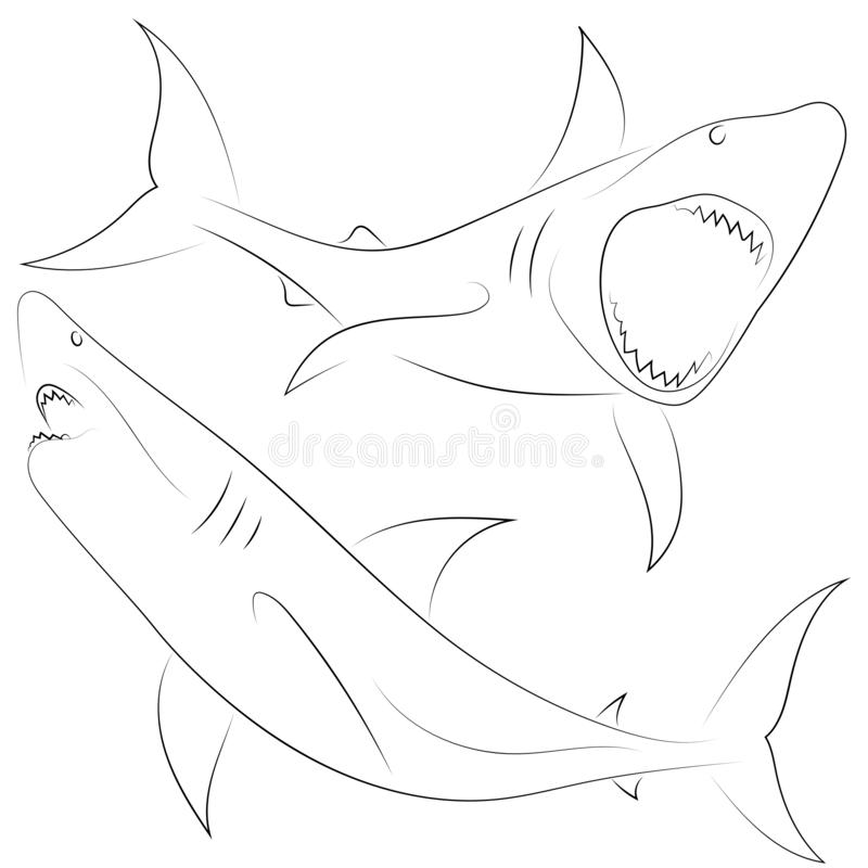 Svart linje hajattacker på vit bakgrund ställ in hajar Ske stock illustrationer