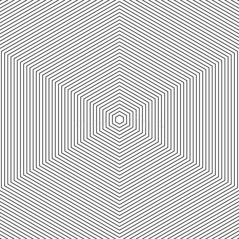 svart linje modellwhite Monokrom grafisk svartvit prydnad för abstrakt för vektor modell för op konst sexhörning optisk il royaltyfri illustrationer