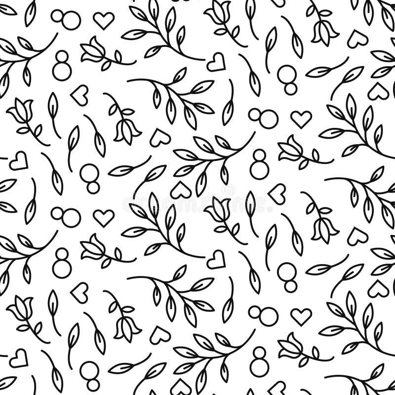 Svart linje sömlös vektormodell för blom- 8 mars stock illustrationer