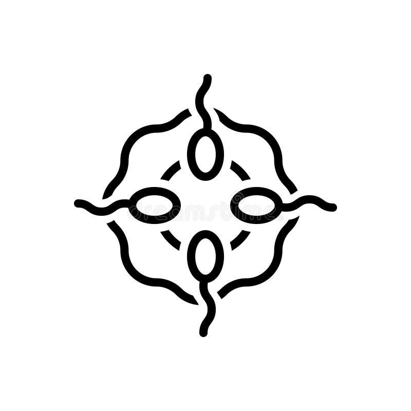 Svart linje symbol för äggcell, ägg och fertilitet royaltyfri illustrationer