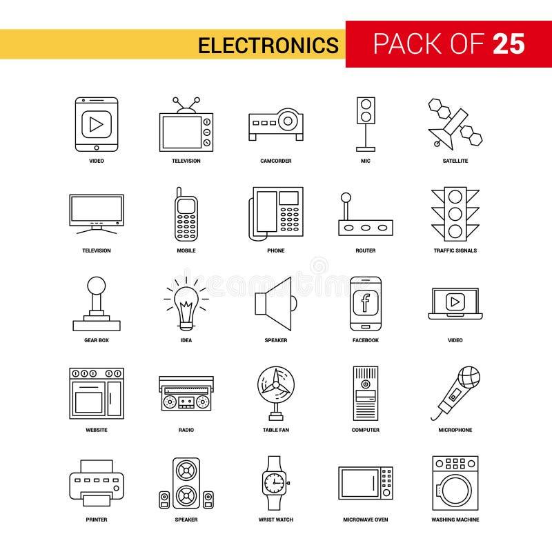 Svart linje symbol - för översiktssymbol för 25 affär uppsättning för elektronik stock illustrationer