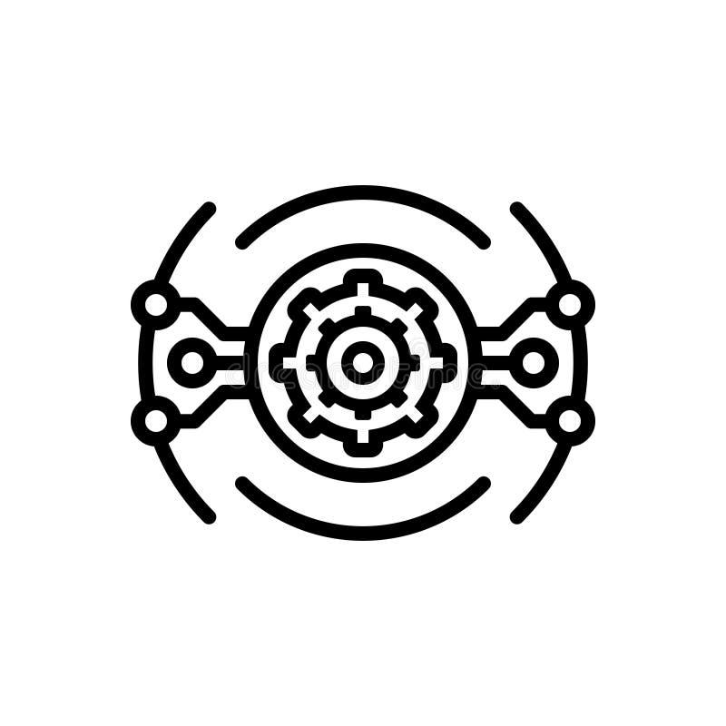 Svart linje symbol för Aautomation, teknologi och elektroniskt royaltyfri illustrationer