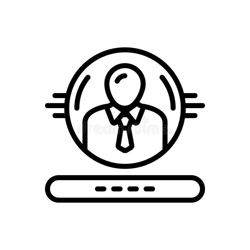 Svart linje symbol för administration, styre och folk royaltyfri illustrationer