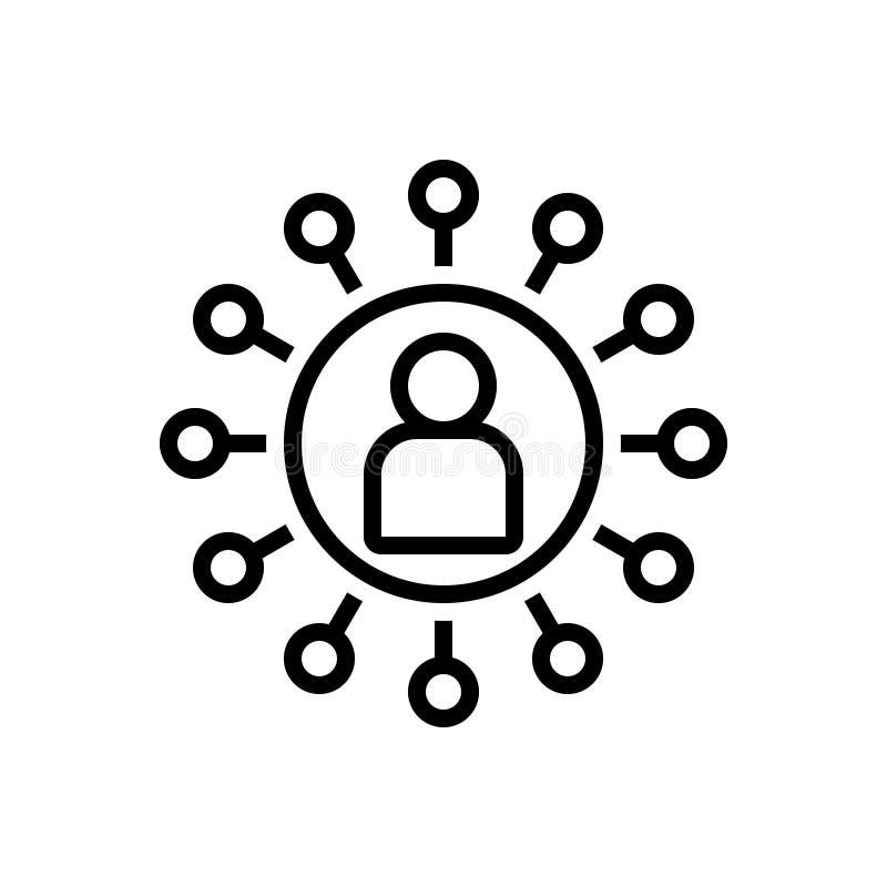 Svart linje symbol för anslutning, kommunikation och gemenskap royaltyfri illustrationer