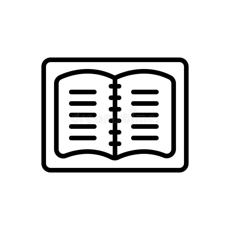 Svart linje symbol för anteckningsbok, studentanmärkningar och ledare royaltyfri illustrationer