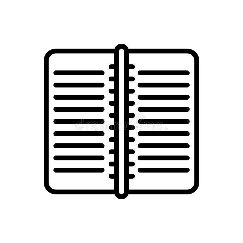 Svart linje symbol för arbetsbok, publikation och sida vektor illustrationer