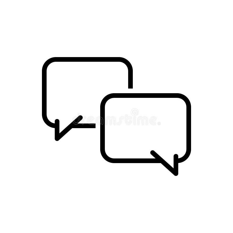 Svart linje symbol för att prata, messaging och ord royaltyfri illustrationer