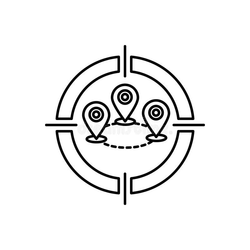 Svart linje symbol för att uppsätta som mål för läge, gps och digitalt vektor illustrationer