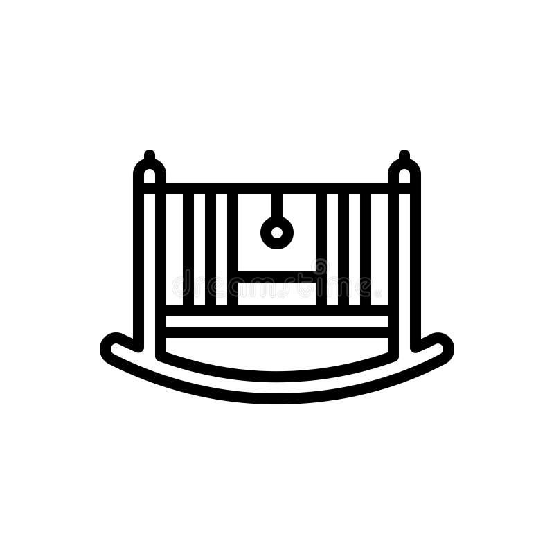 Svart linje symbol för att vagga vaggan och att vagga och att behandla som ett barn royaltyfri illustrationer