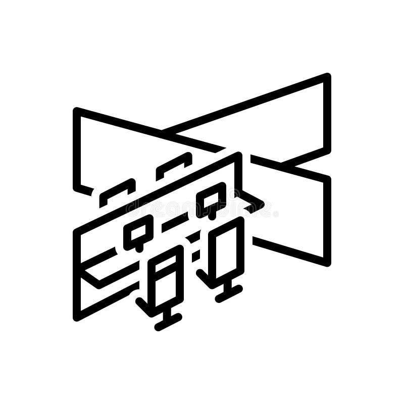 Svart linje symbol för avdelning, uppdelning och kontor vektor illustrationer
