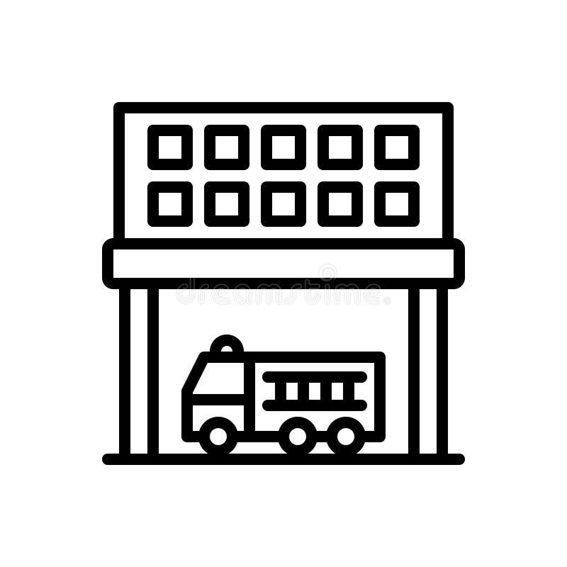 Svart linje symbol för avdelning, uppdelning och transport royaltyfri illustrationer