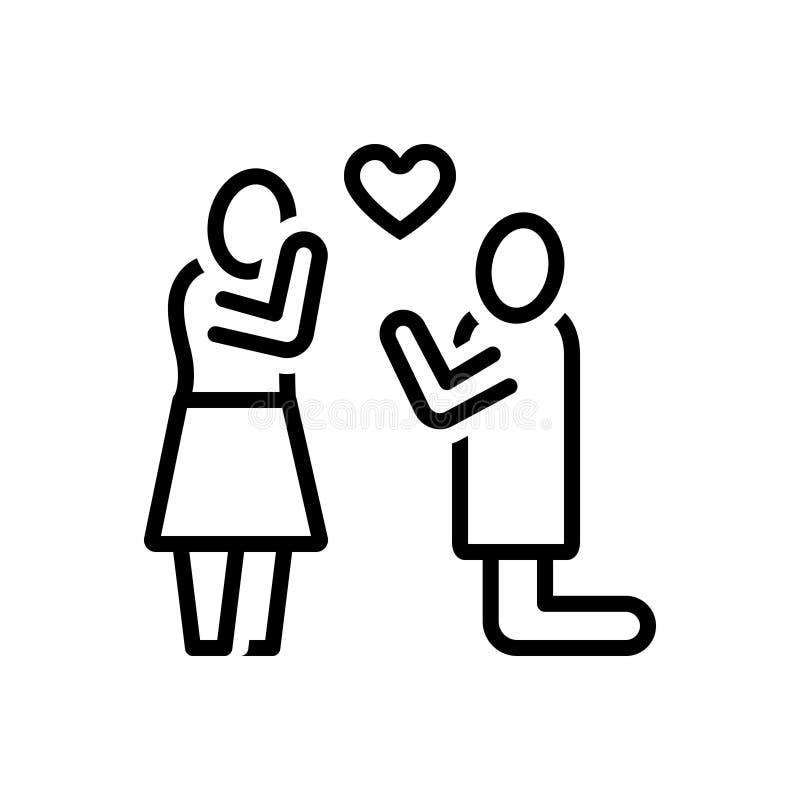 Svart linje symbol för avsikt, förälskelse och folk vektor illustrationer
