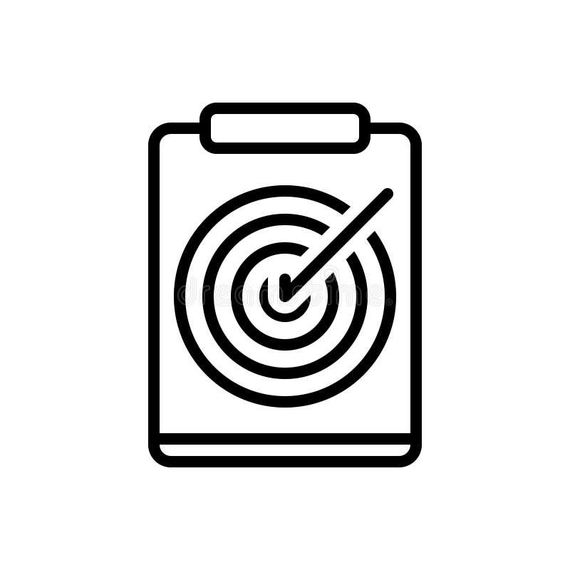 Svart linje symbol för bågskytteanmärkning, diagram och dokument vektor illustrationer