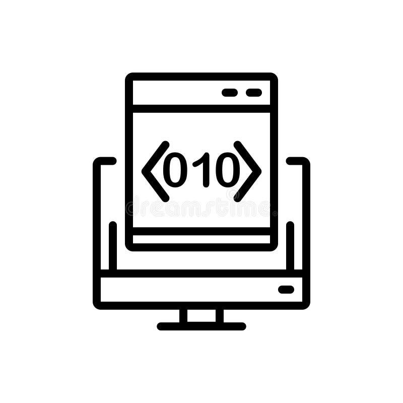 Svart linje symbol för beställnings-, att kodifiera och programvara vektor illustrationer