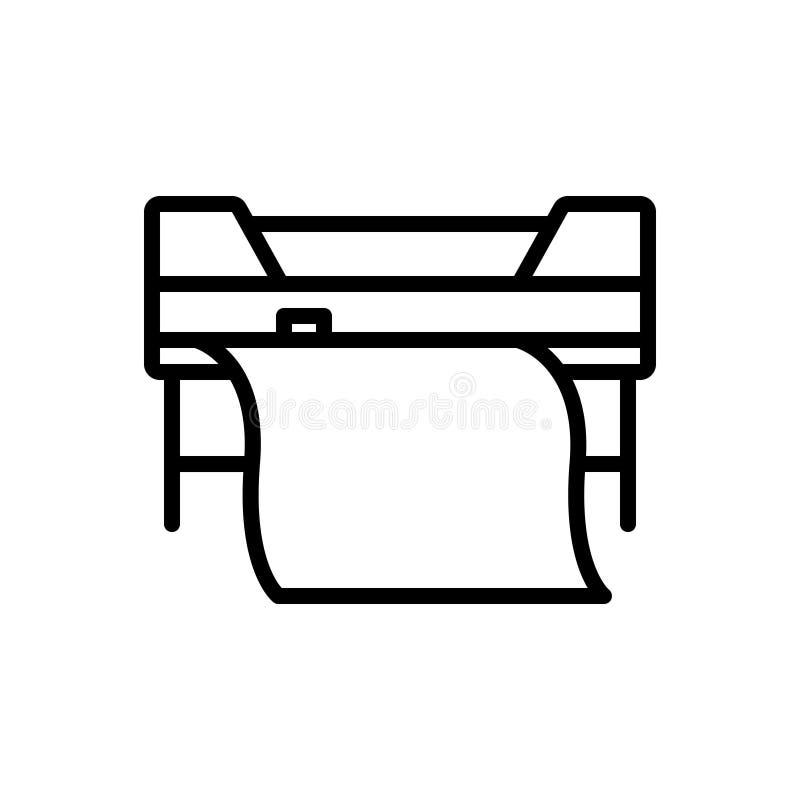 Svart linje symbol för beställnings- utskrift, skrivare och egen stock illustrationer
