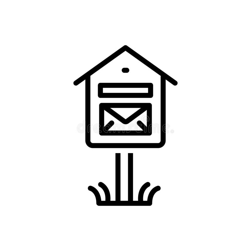 Svart linje symbol för brevlåda, bokstavsask och pobox royaltyfri illustrationer