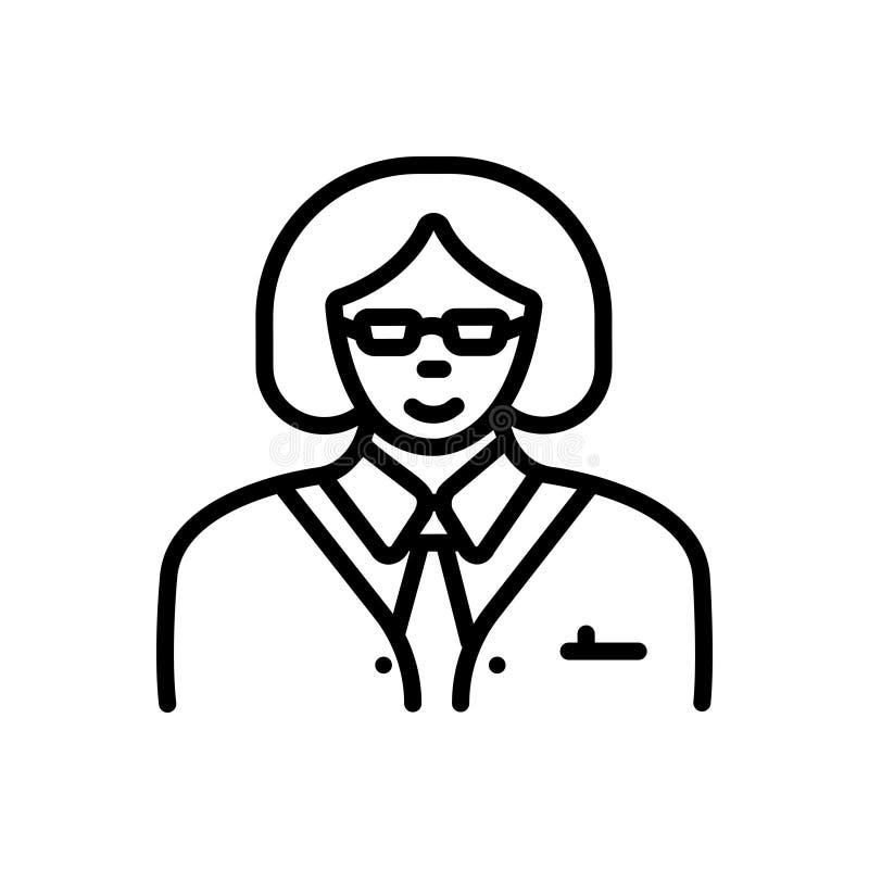 Svart linje symbol för chef, marskalk och kvinnor vektor illustrationer