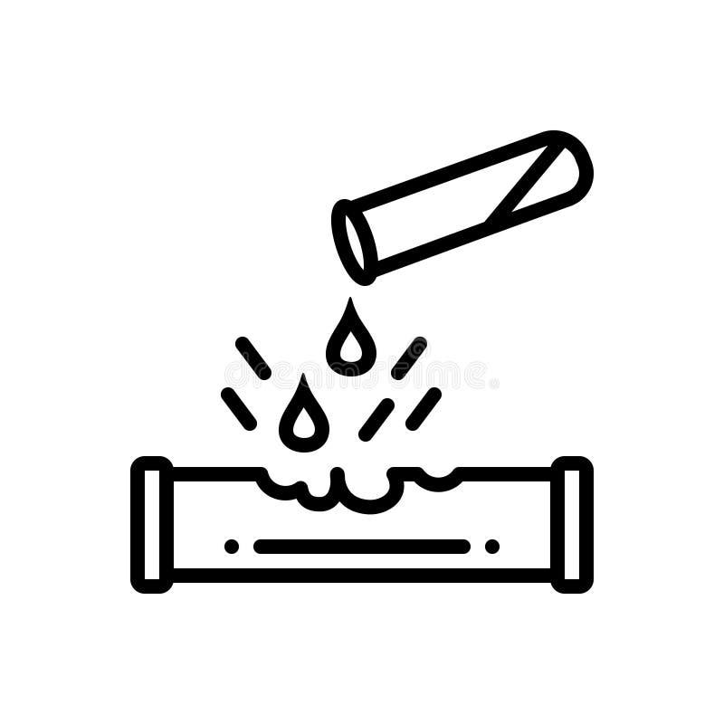 Svart linje symbol för Corrosiveness, droppe och skadligt stock illustrationer