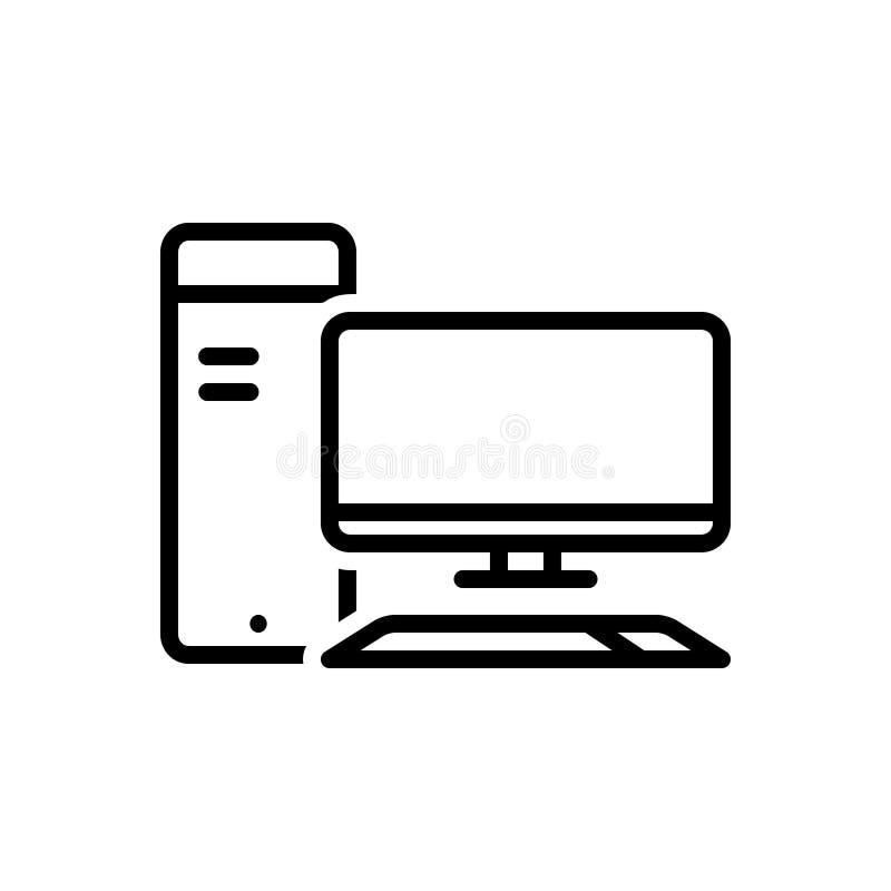 Svart linje symbol för dator, PC och överföring royaltyfri illustrationer