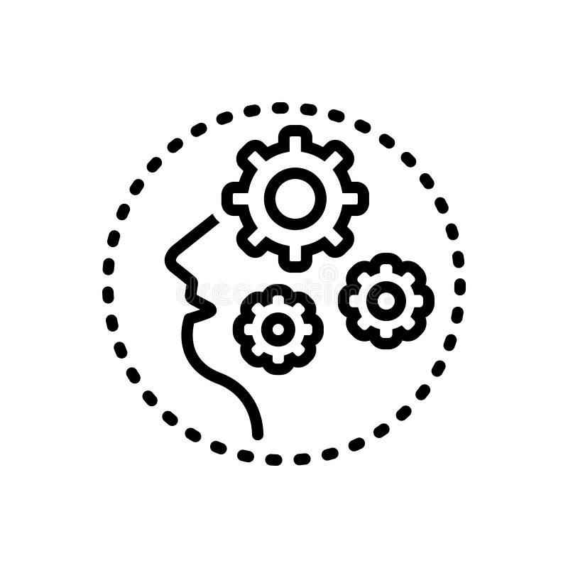 Svart linje symbol för demens, galenskap och amok vektor illustrationer