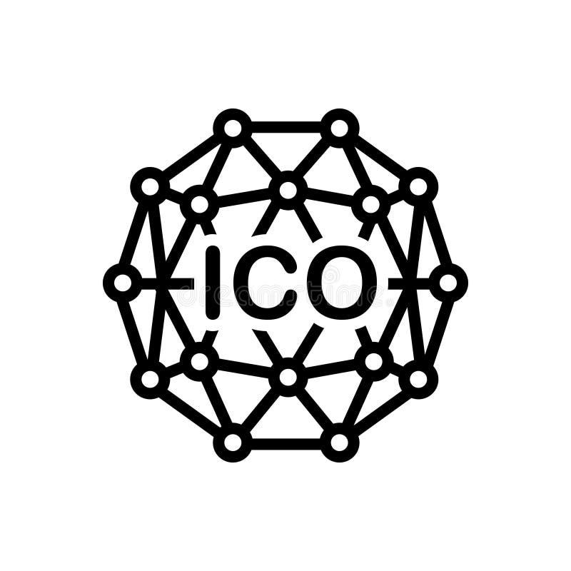 Svart linje symbol för den Ico initialen, intial och mynt royaltyfri illustrationer