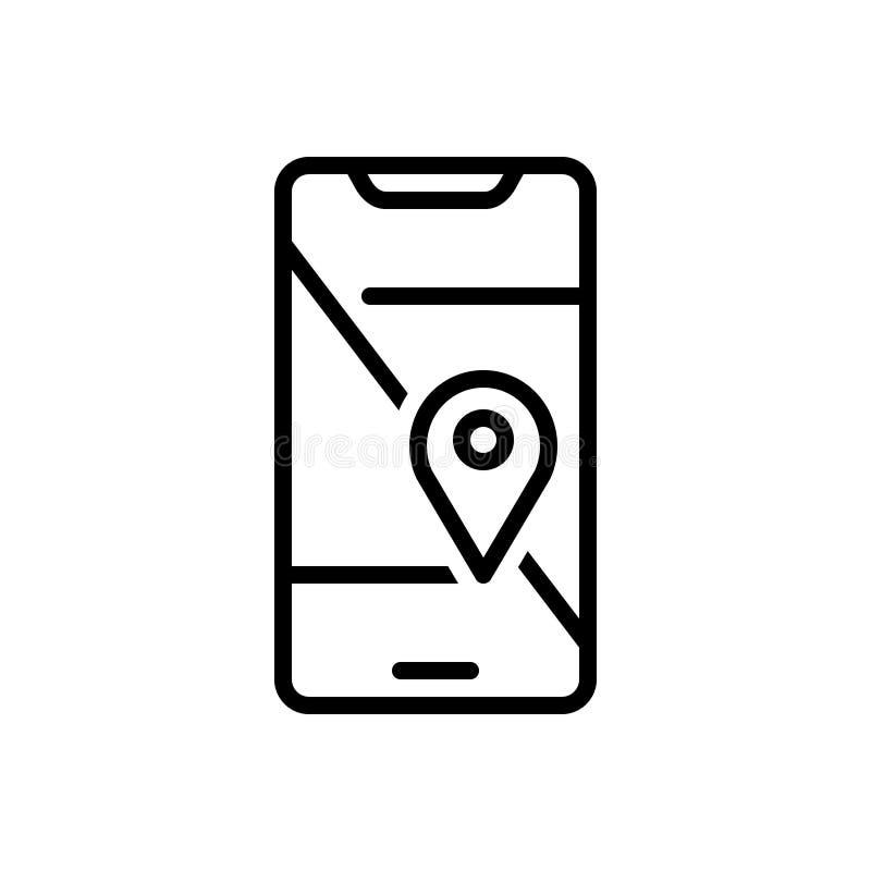 Svart linje symbol för den mobila Geo lokaliseringen, navigering och kartografi royaltyfri illustrationer