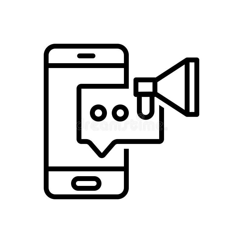 Svart linje symbol för den Sms marknadsföringen, komrets och messaging vektor illustrationer