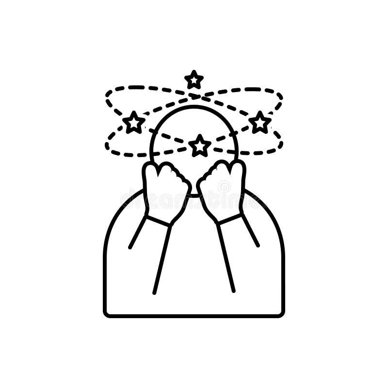 Svart linje symbol för Depressed, stressigt och medicinskt vektor illustrationer