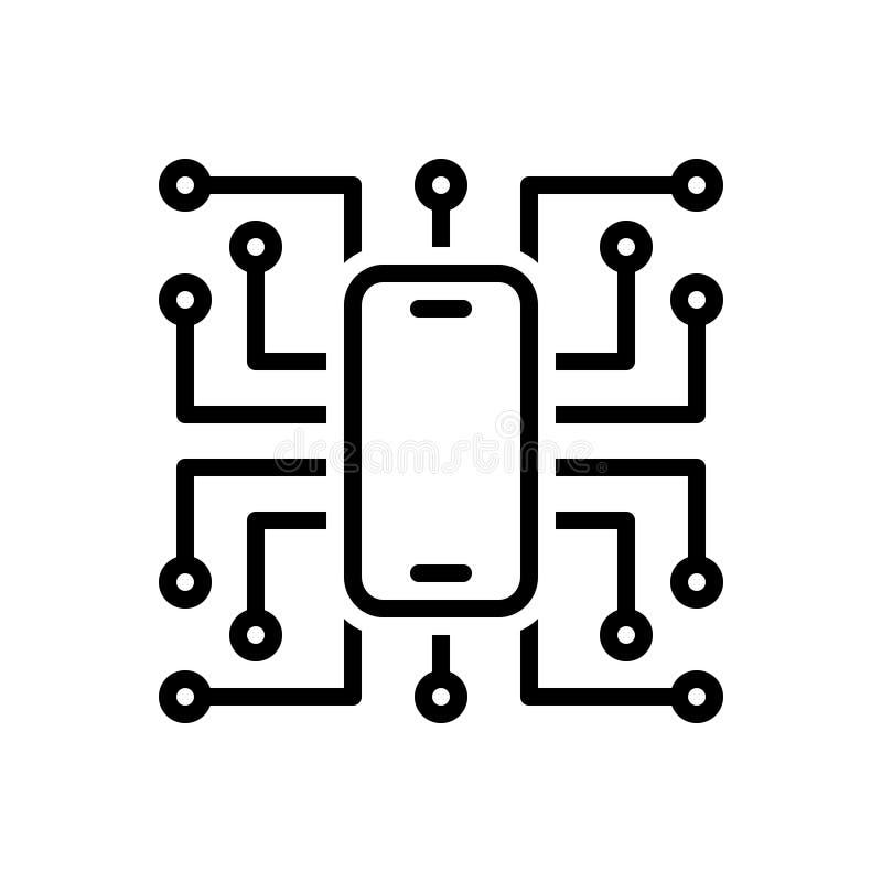 Svart linje symbol för Digitalisation, teknologi och programvara royaltyfri illustrationer