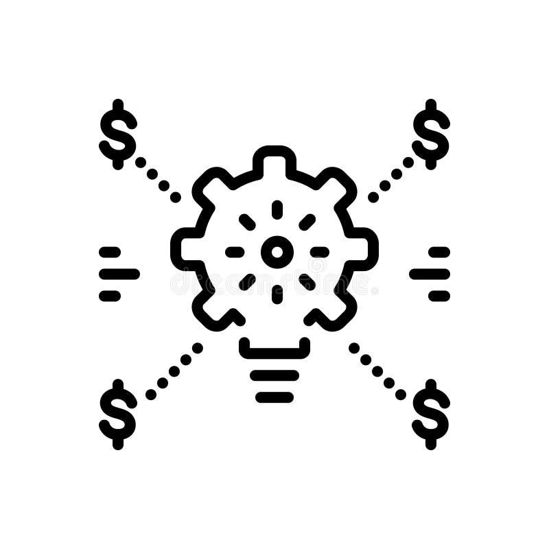 Svart linje symbol för effektivitet, kraftigt och effektivt vektor illustrationer