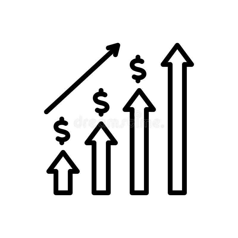 Svart linje symbol för ekonomisk investering, graf och framsteg stock illustrationer
