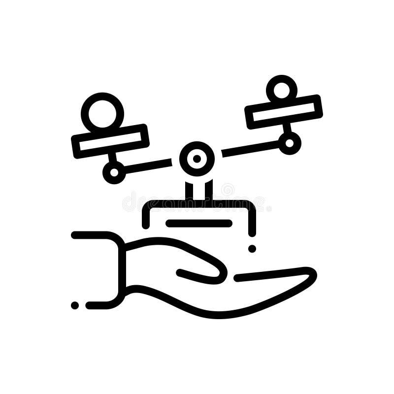Svart linje symbol för etik, hand och jämvikt stock illustrationer