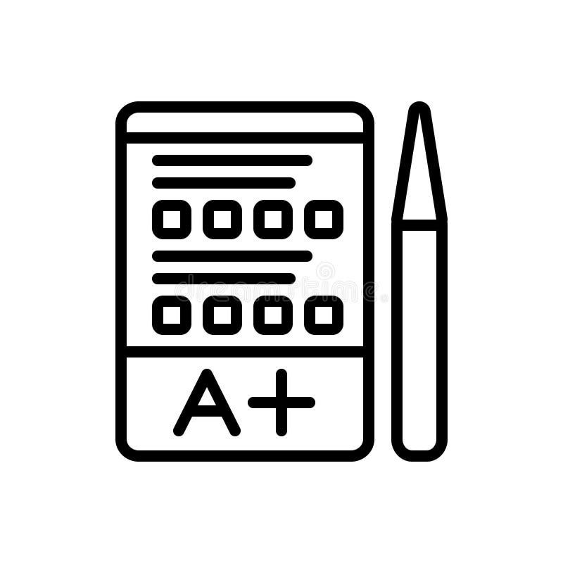Svart linje symbol för examen, frågesport och prov stock illustrationer