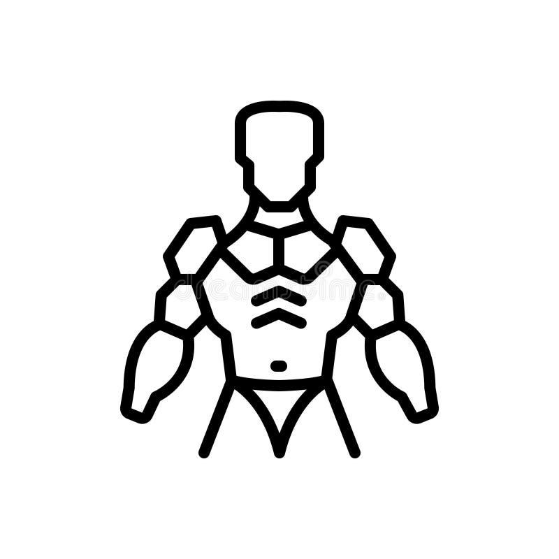 Svart linje symbol för exoskelett, harnesk och pansar vektor illustrationer