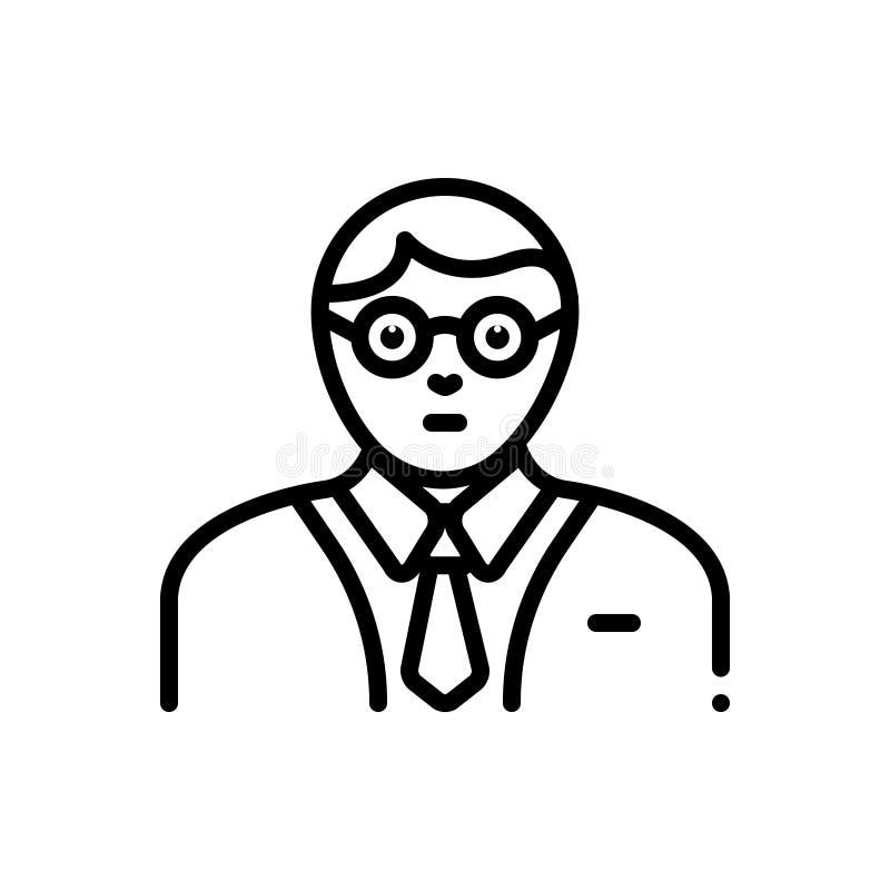 Svart linje symbol för expert, specialist och rådgivare stock illustrationer