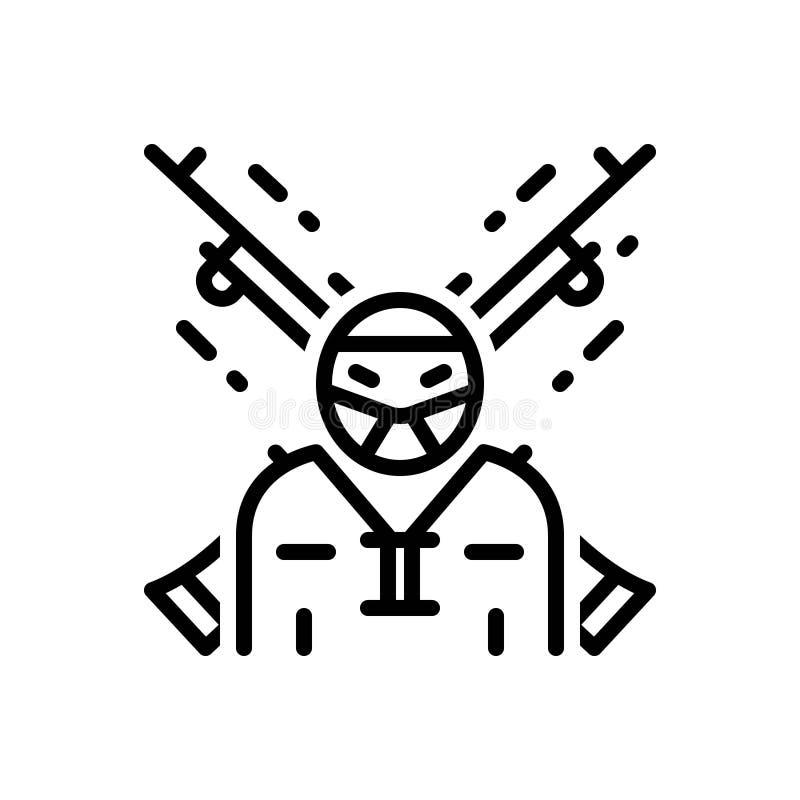 Svart linje symbol för extremist, terrorist och rebell vektor illustrationer