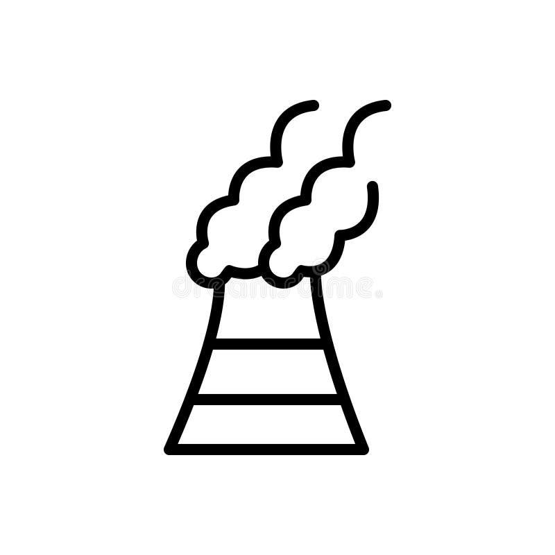 Svart linje symbol för föroreningar, förorening och skadligt vektor illustrationer