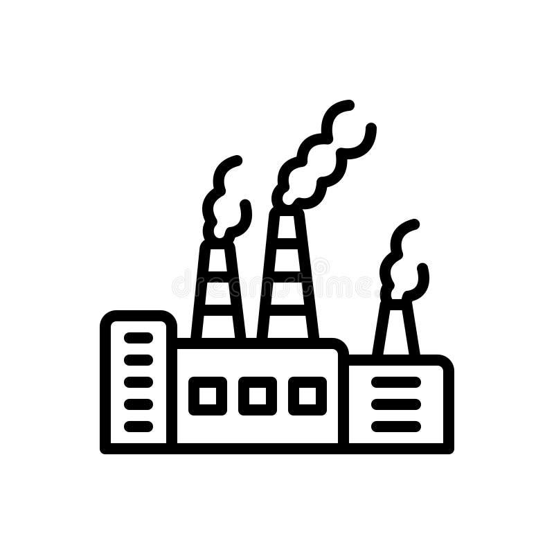 Svart linje symbol för föroreningar, förorening och skadligt stock illustrationer