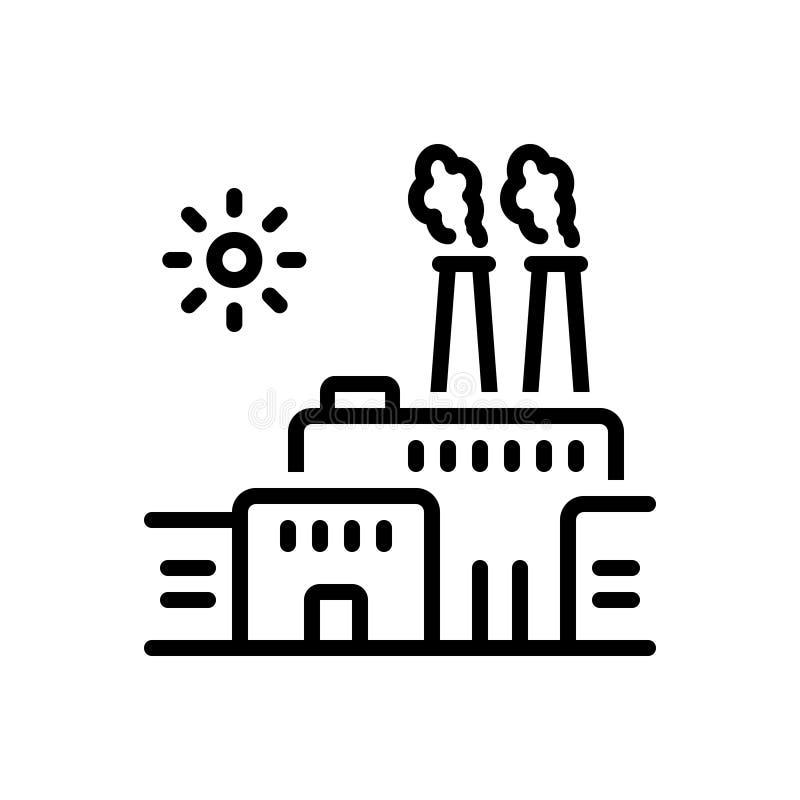 Svart linje symbol för fabrik, barrikad och tråd royaltyfri illustrationer