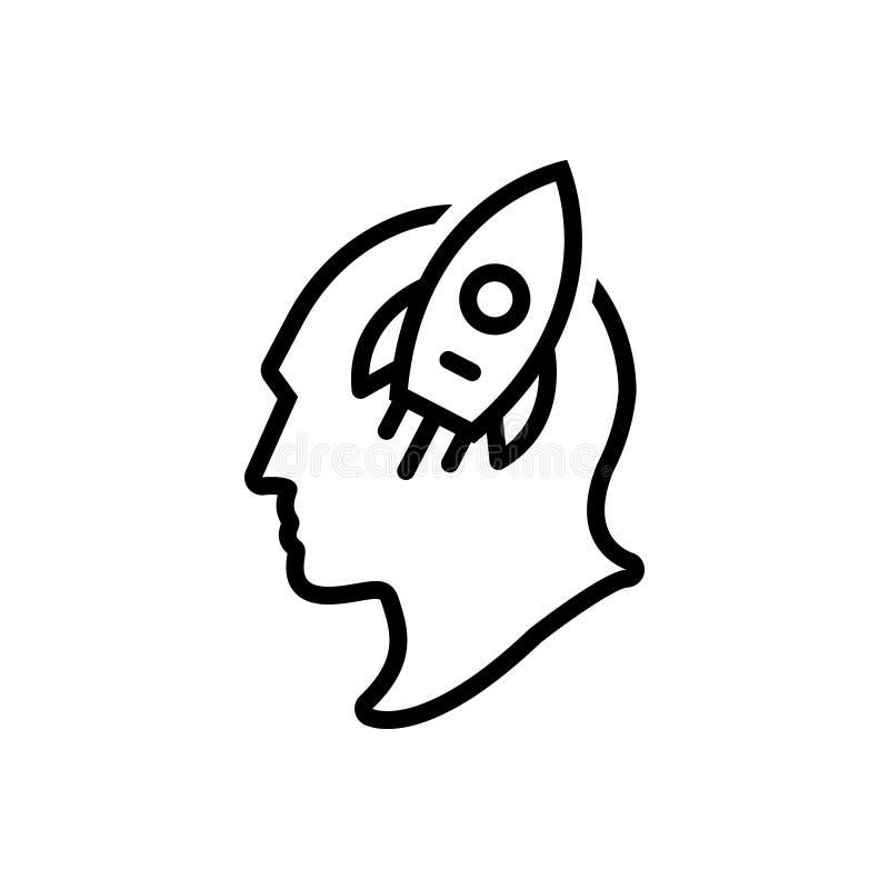 Svart linje symbol för fantasi, fantasirikt och fakultet stock illustrationer