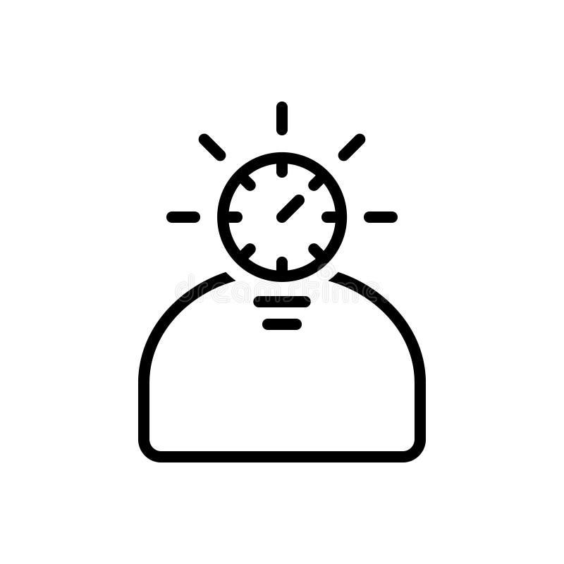 Svart linje symbol för Fast eleven, skarpt och intensivt royaltyfri illustrationer