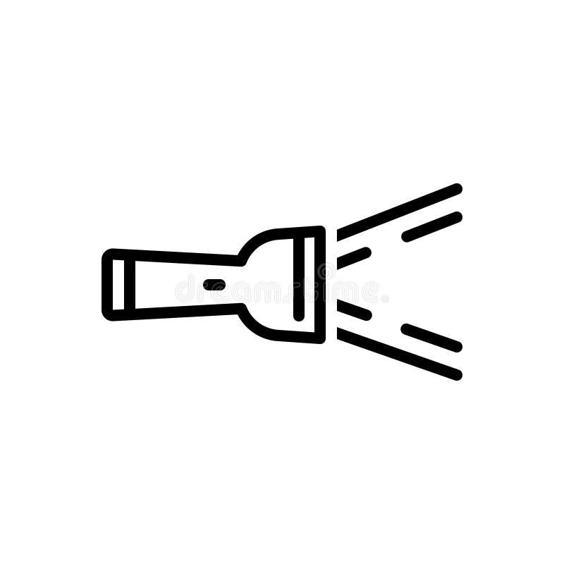 Svart linje symbol för ficklampa, exponering och strålkastare stock illustrationer