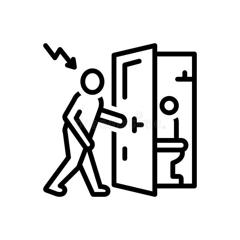 Svart linje symbol för fientligt infall, invasion och toalett royaltyfri illustrationer