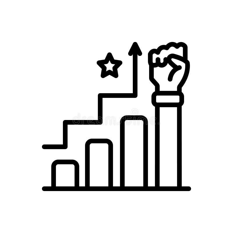 Svart linje symbol för framgång, triumf och seger stock illustrationer