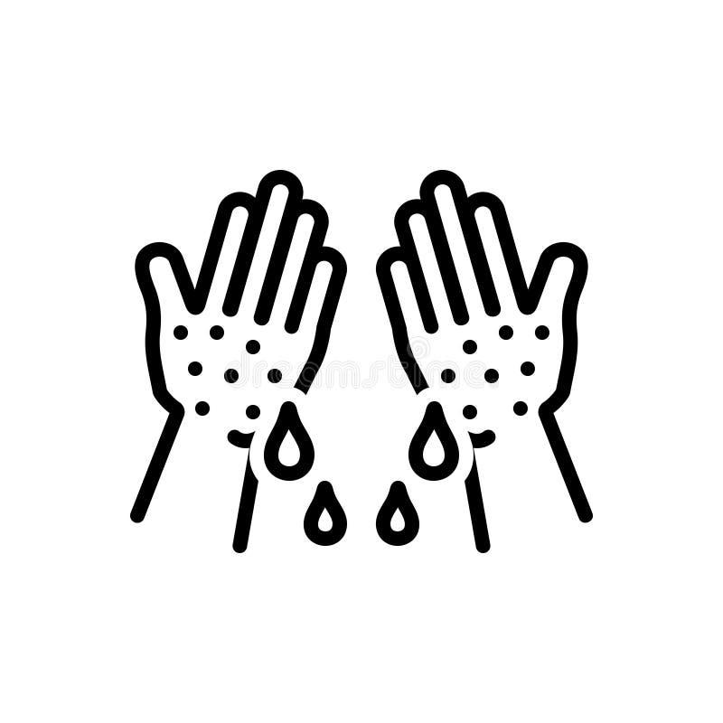 Svart linje symbol för fuktigt, klibbigt och limy stock illustrationer
